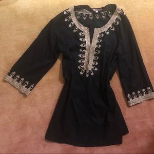 Calypso tunic. Black with Gold Embroidery.